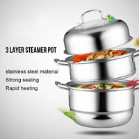 Kitchen Stainless Steel Soup Cooker 2/3 Tier Food Steamer Cooking Pot Cookware