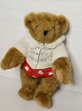 """Vermont Teddy Bear Classic Jointed Bear 16"""" Sequin Sweater & Red Heart Pants"""