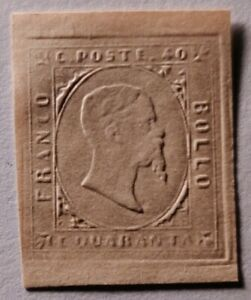 Sardinia 1853 40c MNG (€28000 for genuine with gum). Sold as forgery/reference