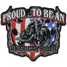 """American rider patch 11"""" écusson moto grand-teint brodés tete de mort Bike 26cm"""