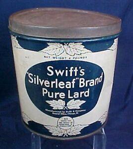 Vintage Swift's Silverleaf Brand Pure Lard Tin Chicago ILL