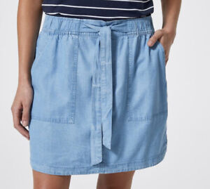 Ladies size 16  Chambray Blue TENCEL Mini short  SKIRT with belt   NEW RRP$30