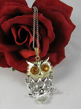 Vintage Articulate Amber Rhinestone Owl Necklace  CAT RESCUE