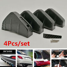 4Pcs Rear Bumper Fins Spoiler Wing Lip Splitter Carbon Fiber Look Accessories
