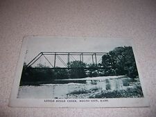 1910s LITTLE SUGAR CREEK BRIDGE MOUND CITY KANSAS ANTIQUE POSTCARD