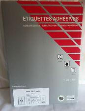 Boite 100 Feuilles Etiquettes Adresses Adhésives Jaunes 99 x 38,1 mm