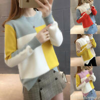 Women Color Block Knitted Sweater Jumper Shirt Thermal Top Blouse Autumn Winter