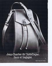 PUBLICITE ADVERTISING 094 1989 JEAN CHARLES DE CASTELBAJAC sacs et bagages