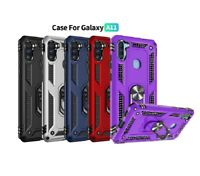 For Samsung Galaxy A11 Case, Ring Kickstand Phone Cover+Tempered Glass Protector