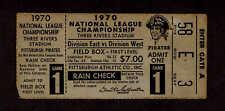 1970  NLCS GAME 1 TICKET STUB PITTSBURGH PIRATES  vs  CINCINNATI REDS  Clemente