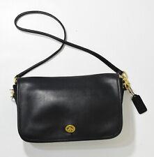 Vintage Coach Black Leather Convertible Purse No Foc-9635