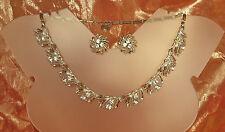 FAB! 1950s LISNER CRYSTAL Rhinestone Necklace Earrings SET~Openwork Leaves~EX!!!