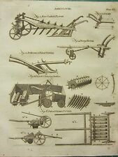 1797 GEORGIAN PRINT~ AGRICULTURE PLOUGH SWARD CUTTER PAIRING ROTHERAM DRILL RAKE