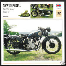 1937 New Imperial 500cc Unit Major Model 17 Motorcycle Photo Spec Sheet Card