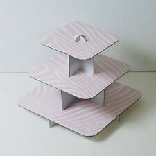 "12"" Pink Cake Stand 3 Tier Square Cupcake Tree Party Deco Wedding Baby Shower"