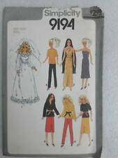 Simplicity 9194 Fashion Doll Cher 11.5in Clothes Dress Sewing Pattern UNcut 1979