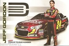 "2013 JEFF GORDON ""AARP DRIVE TO END HUNGER #24"" NASCAR SPRINT CUP POSTCARD"