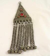 Yemen Low Silver Filigree Gems Kamea Talisman Charm Jewish Wedding Pendant 19C