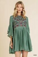Umgee Bohemian Floral Embroidered Ruffled Sleeve Dress Size Small