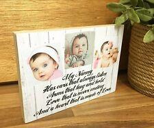 7x5' Wooden Personalised Photo & Text Block Nanny Nanna Grandma Grandad Gift