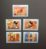 Lot de timbres Mickey et ses amis. Walt Disney production 1984. Série Mongolia
