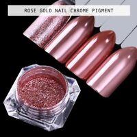 Rose Gold Mirror Powder Chrome Platinum Pigment  Nail Art Glitter Dust