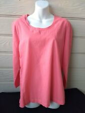 Hot Cotton Womens Size L Large Coral Pink Linen Cotton Long Sleeves Scoop Neck
