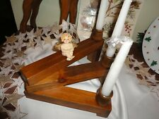 MCM~look HANDMADE Articulated Wood Candle Holder With 3 Candles LOVELY