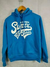 Men's Super Dry Hoodie Blue Size Small Pull Over