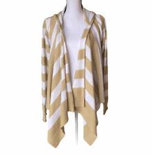 Allison Brittney Womens Beige White Striped Open Cascade Cardigan Sweater Sz XL