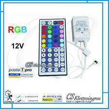 CENTRALINA RGB CONTROLLER + TELECOMANDO IR per STRISCIA LED RGB 12v 44 SEQUENZE