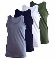 3 X MENS VESTS 100% COTTON TANK TOP SUMMER TRAINING GYM TOPS PACK 3 COLOURS NEW