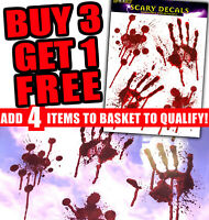 BLOODY HAND PRINT STICKERS Halloween Party Window Decoration Zombie Dead Prop