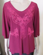BURGANDY BUTTERFLY SEQUIN TOP SIZE XL 50'' CHEST
