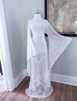 VTG Sheer Lace Art Deco Victorian BoHo Hippie Bell Sleeve Wedding Maxi DRESS