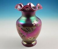 Fenton Signature Satin Raspberry Opalescent Glass Vase Bird Iridescent QVC C3576