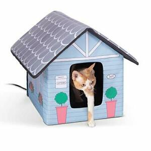 K&H Pet Products Outdoor Heated Kitty House Cat Shelter Cottage Design 18 X 2...