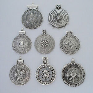 5 Antique Silver Tribal Boho Round Charms Pendants for Necklace Jewellery Making
