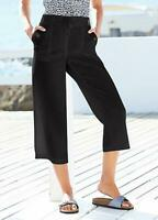KALEIDOSCOPE BLACK LINEN MIX CROPPED TROUSERS SIZE 10 NEW WITH TAG RRP £32.00