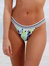 Victoria Secret The Smocked Cheeky Bikini Bottom Medium M Diffused Palm NWT *T