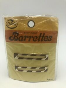 "Vintage 1975 Goody Stay Tight Barrettes Metal 2.25"" Gold Brown Stripes"