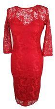 Kardashian Kollection Lipsy Red Sheer Lace Bodycon Midi Dress 3/4 Sleeve UK 10
