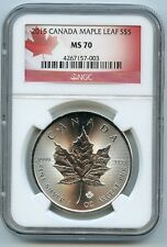 2015 Canadian Maple Leaf $5 Silver Dollar MS70 NGC .9999 Certified Graded Coin
