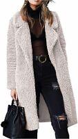 Angashion Women's Fuzzy Fleece Lapel Open Front Long, Ligh Beige, Size XX-Large