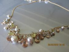 """ALEXIS BITTAR NWT GOLD 16-18"""" NECKLACE W/ YELLOW FACETED STONES AND PEARLS"""