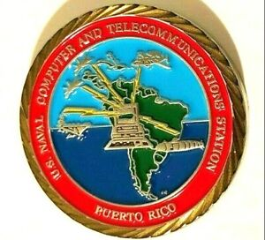 US NAVAL COMPUTER TELECOMMUNICATION STATION NAVY CHALLENGE COIN # 30 Puerto Rico