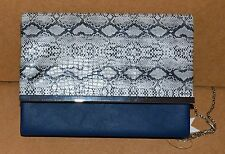 100% PU NAVY BLUE LEATHER EVENING BAG, PURSE, CLUTCH~FAUX ALLIGATOR PATTERN~NWT