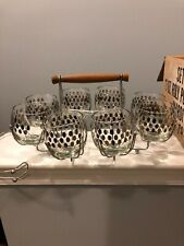 Vintage Mardi Gras Roly-Poly Platinum Dots Beverage Set New In Box