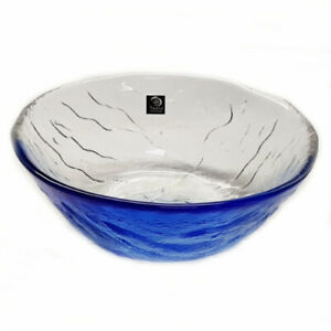 Set of 2 Blue & Clear Glass Dinner Serving Plate Soup Bowl Appetizer Salad Bowl