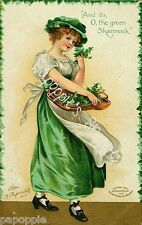 St Patrick's Day Vintage Postcard on Fabric Block Irish Girl Shamrock Clapsaddle